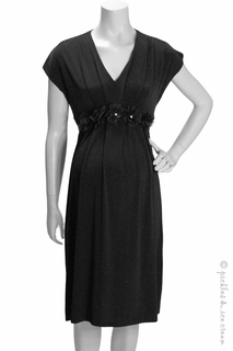Maternity Clothes: Bellyssima Maternity Black Flowered Waist Dress - Click to enlarge