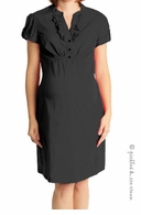 Bellyssima Maternity Black Ruffle Front Cotton Poplin Dress