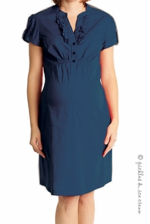 Bellyssima Maternity Navy Ruffle Front Cotton Poplin Dress