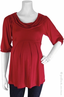 Maternity Clothes: Bellyssima Maternity Red Draped Pleat Top  - Click to enlarge