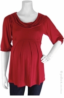 Bellyssima Maternity Red Draped Pleat Top