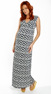 Maternity Clothes: Everly Grey Maternity Navy Batik Jill Maxi Dress - Click to enlarge