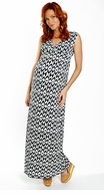 Everly Grey Maternity Navy Batik Jill Maxi Dress