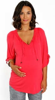 Everly Grey Maternity Coral Robyn Tunic-Final Sale