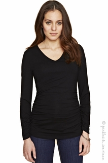Maternity Clothes: Isabel Oliver V-neck Ruched Top Black - Click to enlarge