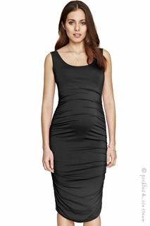 Maternity Clothes: Isabella Oliver Ruched Tank Dress Caviar Black - Click to enlarge