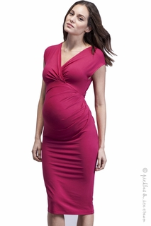 Maternity Clothes: Isabella Oliver Maternity Bruna Gathered Dress Pink - Final Sale - Click to enlarge