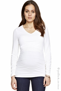 Maternity Clothes: Isabella Oliver V-neck Ruched Top White - Click to enlarge