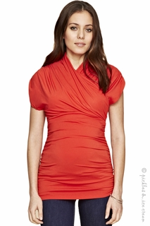 Maternity Clothes: Isabella Oliver Urban Ruched Top Winter Orange - Click to enlarge