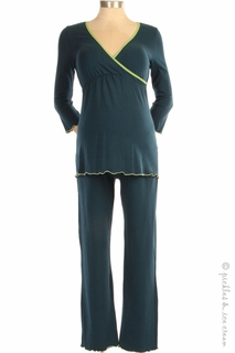 Japanese Weekend Maternity d&a 3/4 Sleeve Teal/Mint PJ Set