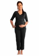 Japanese Weekend Maternity d&a Crossfront Pajamas Black