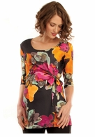 Japanese Weekend Maternity Floral Side Tie Top