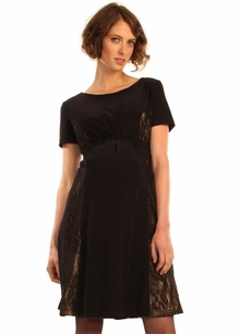 Maternity Clothes: Japanese Weekend Maternity d&a Black Lacey Luxe Dress - Final Sale   - Click to enlarge