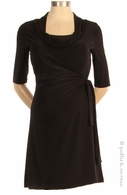 Japanese Weekend Maternity Drape Neck Adjustable Side-Tie Dress Black