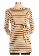Japanese Weekend Maternity Tan & Black Ahoy Stripe Tunic
