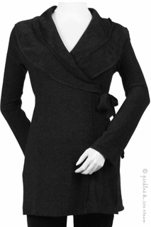 Japanese Weekend Maternity Black Wrap Sweater Tunic
