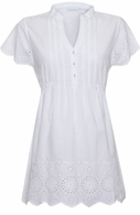 JoJo Maman Maternity Short Sleeve Embroidery Blouse White