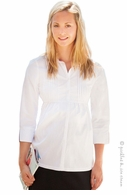 JoJo Maman Maternity White Pintuck Blouse - Final Sale