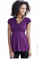 JoJo Maman Maternity Pleated Top Purple