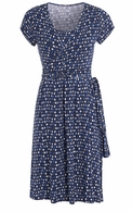 JoJo Maman Maternity Blue Squares Wrap Dress - Final Sale