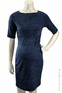 Maternity Clothes: Jules & Jim Maternity Madmen Ponte Knit Dress Navy Mix - Click to enlarge