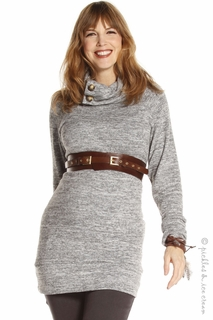 Jules & Jim Button Neck Sweater Grey