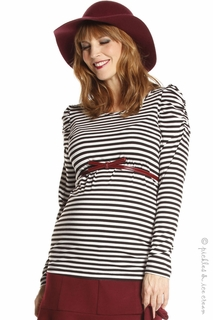 Jules & Jim Maternity Shirred Sleeve Stripe Top