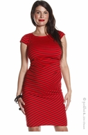 Jules & Jim Maternity Red Stripe Side Pleat Dress