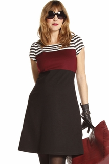 Jules & Jim Maternity Tricolor Twiggy Dress Wine