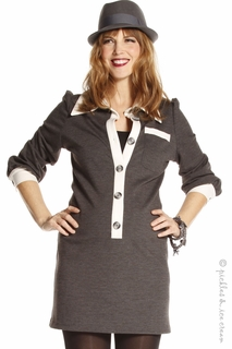 Jules & Jim Maternity Grey and Ivory Placket Collar Tunic
