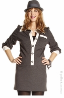 Jules & Jim Maternity Grey and Ivory Placket Collar Tunic - Final Sale