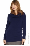 Jules & Jim Maternity Bitex Cowl Knit Navy - Final Sale