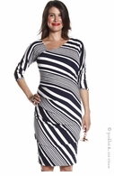 Jules & Jim Maternity Asymmetrical Dress Navy & White