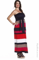 Jules & Jim Maternity Multi Stripe Maxi Dress Red & Tan