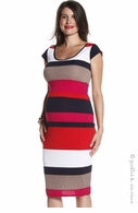 Jules & Jim Maternity Multi Stripe Cap Sleeve Dress Red & Tan
