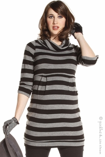 Maternity Clothes: Jules & Jim Maternity Black & Grey Stripe Sweater Tunic - Click to enlarge