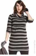 Jules & Jim Maternity Black & Grey Stripe Sweater Tunic