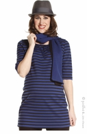 Jules & Jim Maternity Stripe  Blue & Black Tunic - Final Sale