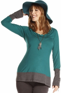 Jules & Jim Maternity Two-Tone Cowl Top Verdant - Final Sale