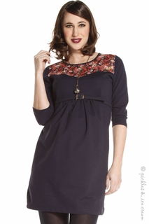 Jules & Jim Maternity Navy Winterflower Dress - Final Sale