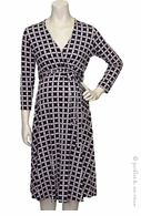 Leota Maternity Black Tricot Print Wrap Dress