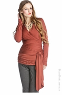 Lilac Maternity Rust Bella Wrap Top