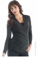 Lilac Maternity Karen Knit Top Charcoal