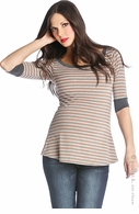 Lilac Maternity Tan and Grey Stripe Bailey Tee