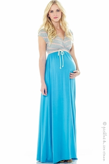 Maternity Clothes: Lilac Maternity Jill Maxi Dress Grey & Sky - Click to enlarge