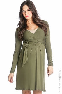 Lilac Maternity Abby Sash Dress Olive