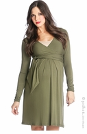 Lilac Maternity Abby Sash Dress Olive - Final Sale