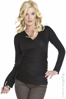 Lilac Maternity Black Bella Wrap Top
