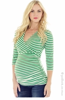 Lilac Maternity Michelle Stripe Top Green & White