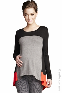 Maternal America ColorBlock Swing Top Grey